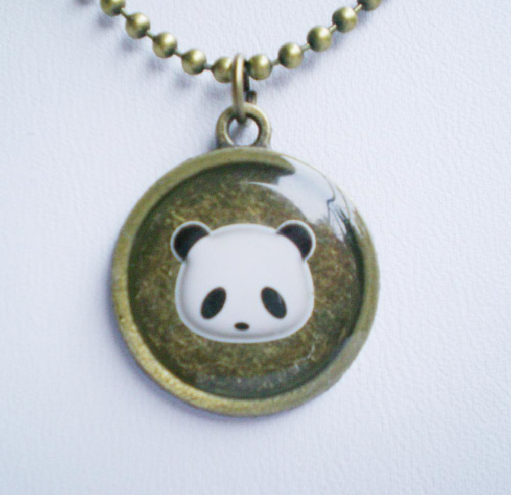 Panda Necklace, Animal Necklace, Hand Cast Resin Accessory
