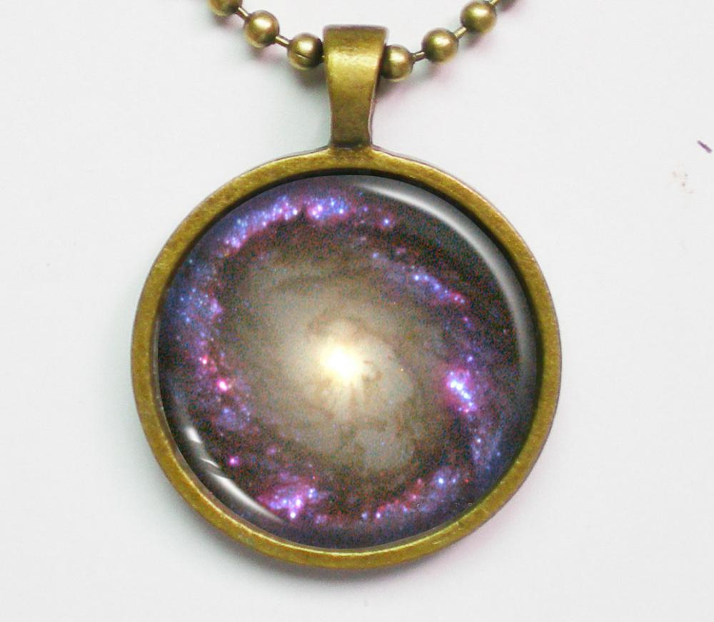 Astrographic Necklace - Spiral Galaxy NGC 4314 - Galaxy Series